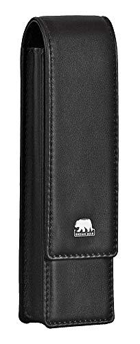 Brown Bear Schreibgeräte-Etui Leder Schwarz für 2 Stifte mit Magnet-Verschluss Echt-Leder hochwertig Stifte-Halter Stifte-Etui Stifte-Tasche