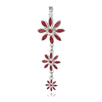 cadeau personnalisé femme-Pendentif -Corail-3 fleurs- Argent massif-Femme