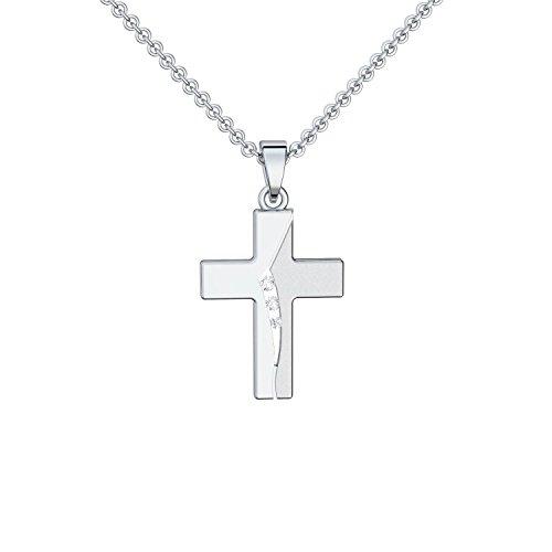 Kreuz Kette Silber 925 mit Zirkonia + inkl. Luxusetui + echt Silber Kreuzkette mit Stein wie Diamant Kreuzanhänger Anhänger Kommunion Konfirmation Taufkette FF429 SS925ZIFA45