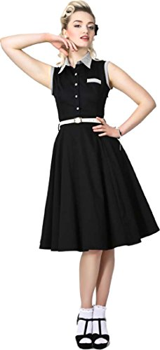 Collectif 50s POLLY Streifen Vintage Shirt DRESS / Kleid Schwarz