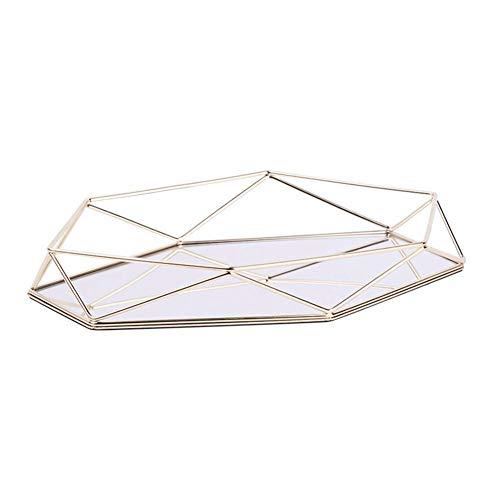 Vintage Spiegeltablett Gold Verspiegelt Platte Verspiegelt Deko Tablett Spiegel Tablett Polygon Dekotablett als Schminktisch Aufbewahrung Tablett Gold Dreidimensionales Ablagefach aus Eisen Gold-tablett