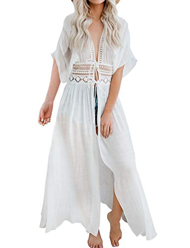 FANCYINN Damen Strandkleid Cover up Bikini Strandponcho Badeanzug Vertuschen Sommer Weiß -