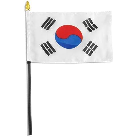 Bandiera Corea del Sud 10,16 15,24 cm x 6 x (4