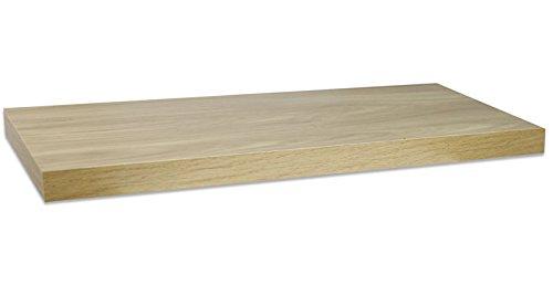 Vetrineinrete® mensola da parete con reggimensola a scomparsa kit montaggio incluso scaffale in legno mdf wengé grigio o noce fissaggio a muro varie dimensioni (noce, 80x25 cm) 553318 p87