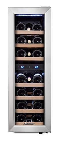 Kalamera 75BSS Weinkühlschrank • Kompressionskühler • 2 Zonen • Volumen: 65 Liter • 19 Flaschen • Kühltemperatur: 5-10 °C /10-18 °C • 7 x Holzeinschub