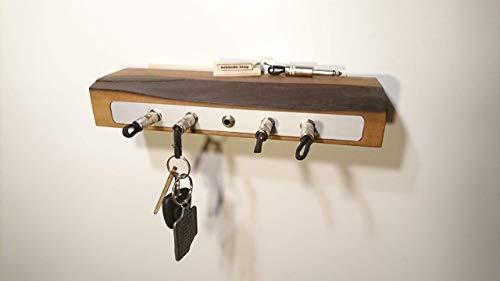 Schlüsselbrett aus Walnuss-Holz für 5 Schlüssel -