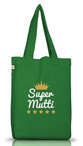 Shirtstreet24, Muttertag - Super Mutti, Mutter Jutebeutel Stoff Tasche Earth Positive Moss Green