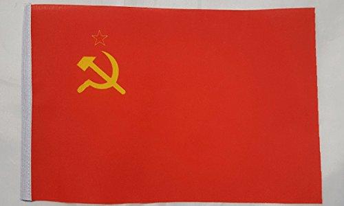 Mini drapeau de l'URSS en polyester avec marteau et faucille - environ 22 cm x 15 cm avec manchon, Taille S