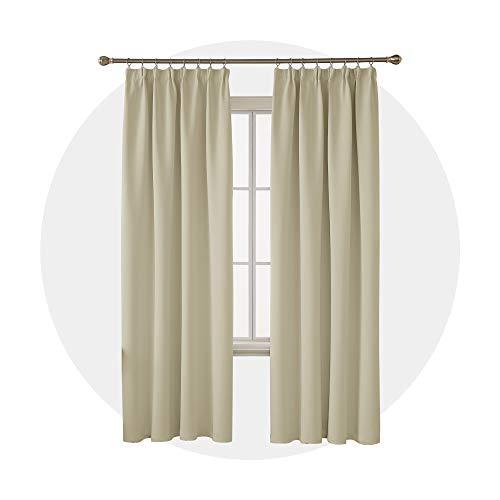 Gardine mit Kräuselband Küche Vorhang Fenster 260x140 cm Beige 2er Set ()