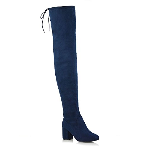 Womens Thigh High Boots Ladies Over The Knee Lace Up Long Low...