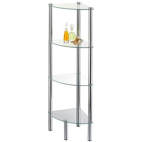Diseño moderno stand-estantería para baño con forma de cubo de pie estante de cristal #958