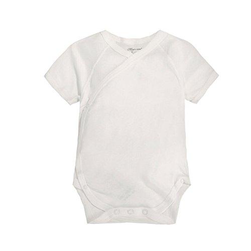 CuteOn Säugling Baby Sommerkleider Onesies Baumwolle Body- Kurzarm Kimono Style mit Side Snaps Beige 9 Monate -