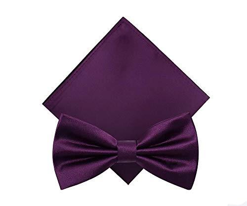 HongTeng Fliege Herren Business Gentleman Hochzeitsbankett Bräutigam Host High-end Persönlichkeit Deep Purple Fliege Tasche Handtuch Kombination (Farbe : Purple Double Pleats) -