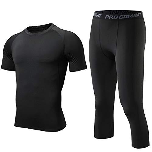 CuteRose Mens Short Sleve Sport Capri Fast Dry Fitness Base Layer Underwear Black 2XL Juicy Couture Velour Set