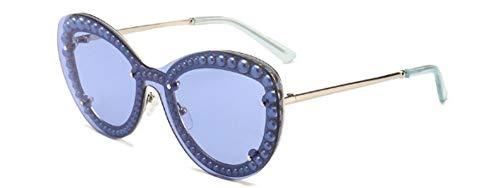 ZJMIYJ Sonnenbrillen Meine Damen randlose Retro Sonnenbrille Frauen integrierte Perlen Sonnenbrillen für weibliche Spiegel Farben UV 400 blau