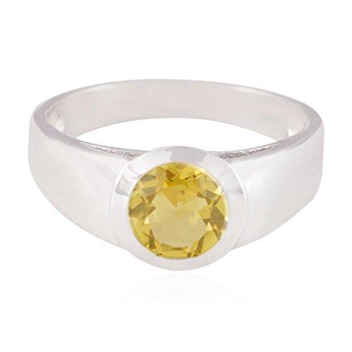 (echte Edelsteine runden facettierten Citrin Ringe - 925 Silber gelb Citrin echten Edelsteinen Ring - Mädchen Schmuck größten Verkäufer Geschenk für Ehemann Ringe)