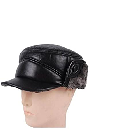 WE&ZHE Men's Flat Cap Hunting Hats Ear Cap with Faux fur inside Faux leather Thickened Vintage Retro Warm Quinquagenarian Autumn and winter black