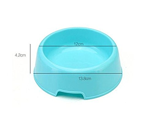 Vikenner Round Pet Dog Cat Plastic Bowl Durable Food Drink Feeder Bowl Candy Colors Feeding Dish Bowl(Blue) 3
