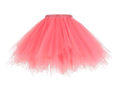 HomRain 1950 Petticoat Tutu Unterrock Underskirt für Rockabilly Kleid Coral S