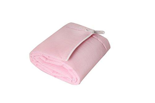 Beistellbett, Kinderbett, Gitterbett, Babybett, Babyblume MARIA 90x40cm, Farbe: Kiefer inkl. Matratze Basic und Nest rosa gestreift
