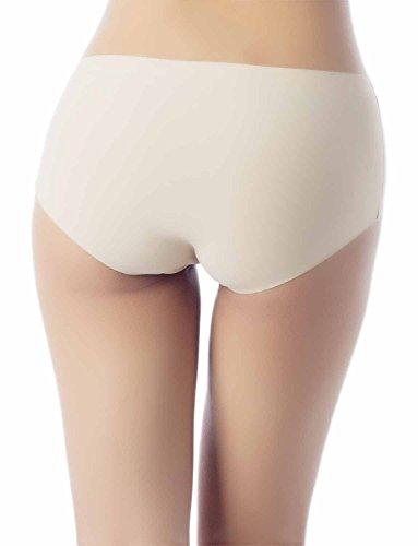 iB-iP Damen Ice Silk Nahtlose Underlayer Siehe-Throu Mitte Taille Hipster Panty Hellgelb