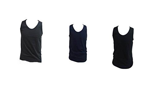 3 canotte uomo spalla larga NAZARENO GABRIELLI 100% cotone pettinato colorato (NERO,GRIGIO,BLU) ART.NC31 (TG.4)