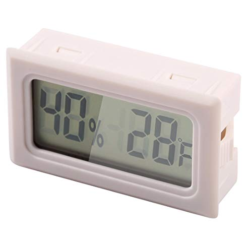 E-CHENG Mini Digital Hygro Thermometer Humidity Meter Temperature Sensor LCD Degree Fahrenheit (F) Display Black (White) -