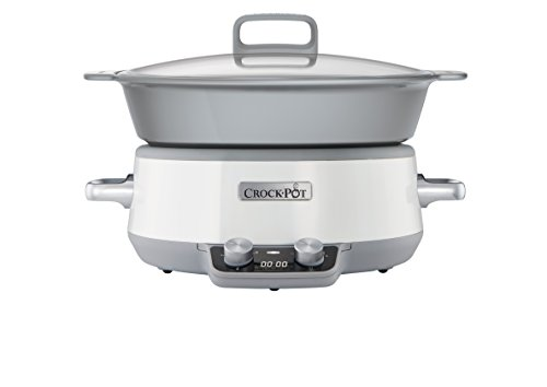 Crock-Pot Duraceramic CSC027X - Olla de cocción lenta digital, 6 L, color blanco