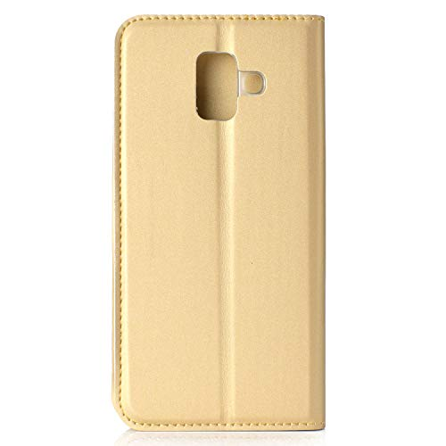 Lomogo Samsung Galaxy A6 2018 Case  Leather Wallet Case with Kickstand Card Holder Shockproof Flip Case Cover for Samsung Galaxy A6  2018  - LOHHA11452 Gold