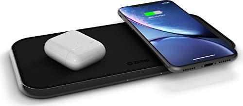ZENS Qi-zertifiziertes duales kabelloses Aluminium Lade-Pad, Unterstützt Fast Wireless Charging mit bis zu 10 Watt - Funktioniert mit allen Qi-fähigen Geräten (Charger G3 Lg Wireless Dock)
