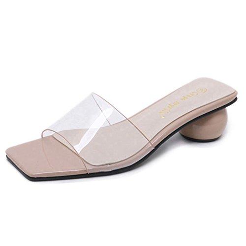 Les Femmes ouvrent Le Talon D'orteil Bloc Sandales Confortables Transparent Bas Glissement sur la Glissière Sandale Chaussure Pantoufle