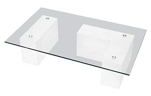 'Table Basse Mur Finition Blanc frassinato cm 100 x 60 H27 en melaminico de Haute qualité' travaillé en Folding avec Verre trempé épaisseur cm 1. Produit entièrement Italien