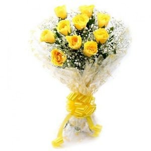 Floralbay Yellow Roses Bouquet Fresh Flowers in Cellophane Wrapping (Bunch of 10)