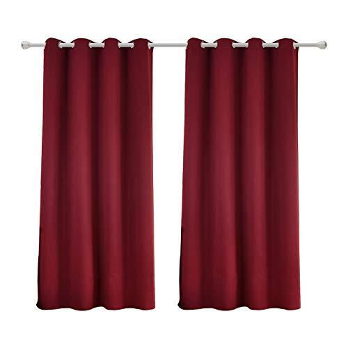 WOLTU #488-2, 2 x Gardinen Vorhang Blickdicht mit Ösen, 2er Set leichte & weiche Verdunklungsvorhänge für Wohnzimmer Schlafzimmer Tür, 135x175 cm, Bordeaux -