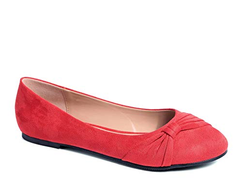 MaxMuxun Damen Geschlossene Ballerinas Flache Loafer Weiche Ballett Schuhe Rotes Wildleder Größe 41 EU - Rote Ballettschuhe