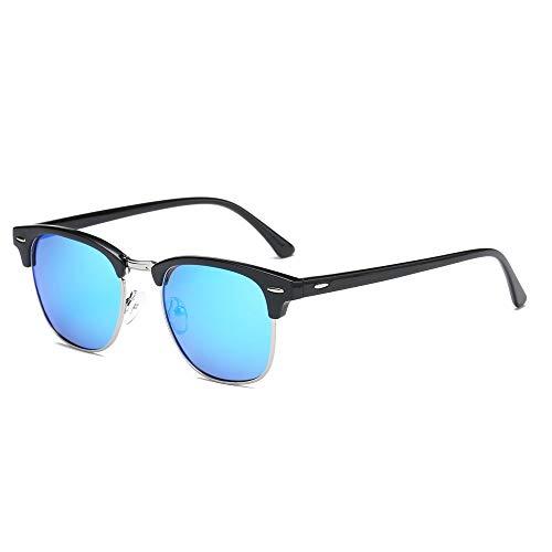 Maysurban Vintage Stil Unisex Sonnenbrille UV400 Schutz Polarisierte Brille mit Markantem Halbrahmen für Outdoor Blau