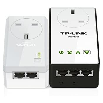 TP-LINK TL-WPA4230PKIT AV500 Powerline 300 M Wi-Fi Extender/Wi-Fi Booster/Hotspot with AC Pass Through, Multiple Ethernet Ports, Starter Kit/Twin Pack
