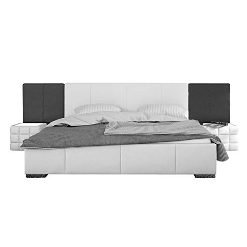 SAM Polsterbett 140x200 cm Nemo, weiß-schwarz, abgestepptes Design, Bett aus Kunstleder