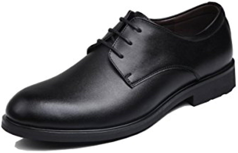 LYZGF Hombres Caballeros Four Seasons Business Casual Moda Acentuado Cordón Casado Zapatos De Cuero,Black-42  -