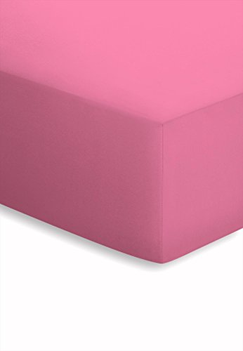 #1 Schlafgut Mako-Jersey Kinder-Spannbettlaken, Spannbetttuch für Kinder- und Babybetten, Bettlaken, 4 Farben, 70x160 cm, Bonbon