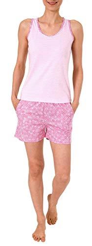 Rosa Baumwoll-shorty-pyjama (NORMANN WÄSCHEFABRIK Ärmelloser Damen Achsel Shorty Pyjama mit Spitze - auch in Übergrössen bis Grösse 60/62-191 205 90 839, Farbe:rosa, Größe2:44/46)