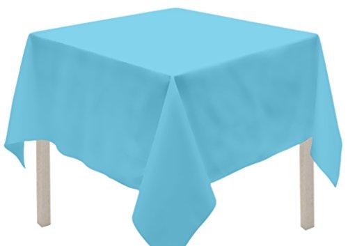 Soleil d'ocre Nappe Anti-tâches carrée 180x180 cm Alix Turquoise Polyester, Bleu, 180 x 180 cm