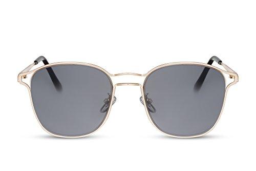 CheapassSonnenbrille Rund-e Gläser Gold Metallrahmen Designer-Brille Metall Damen Herren