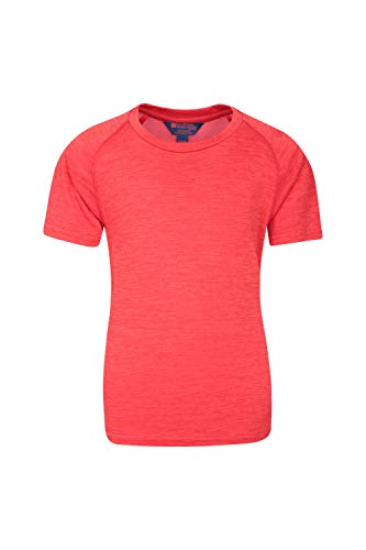 Mountain Warehouse Plain Field Kinder-T-Shirt - Leicht, atmungsaktives Sommer-Kinder-T-Shirt, feuchtigkeitsregulierend, pflegeleicht, Freizeitoberteil - Ideal für Reisen Rot 128 (7-8 Jahre)
