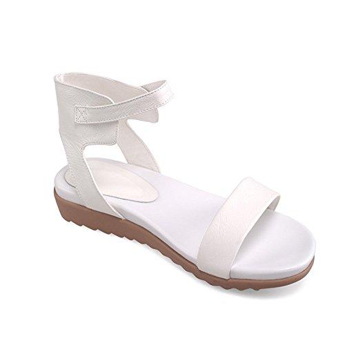 Adee Damen Schnalle Offene Leder Sandalen Weiß