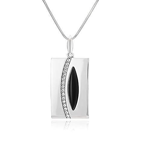 LillyMarie Damen massive Silberkette echt Silber Anhänger Onyx original Swarovski