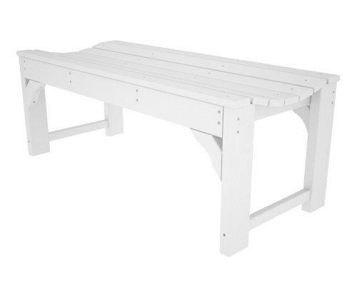 CASA BRUNO Gartenbank ohne Lehne, 122 cm breit, aus recyceltem Polywood® HDPE Kunststoff, weiss - kompromisslos wetterfest