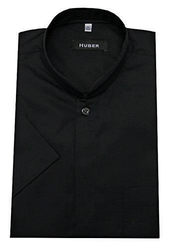 Stehkragen Hemd schwarz KURZARM mit Asia Japan Kragen bügelleicht Produziert in der EU. HUBER 0592 bequeme Passform Größe S bis 6XL Schwarz