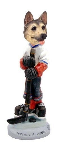 German Shepherd Tan/Black Hockey Player Doogie Collectable Figurine by CON -