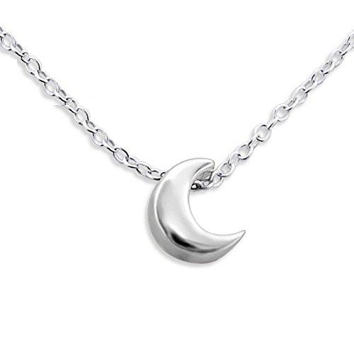Bungsa .925 Sterling Silver Halskette mit Mond Anhänger (Silberkette Damenkette Necklace Frauen Echtschmuck Männer)